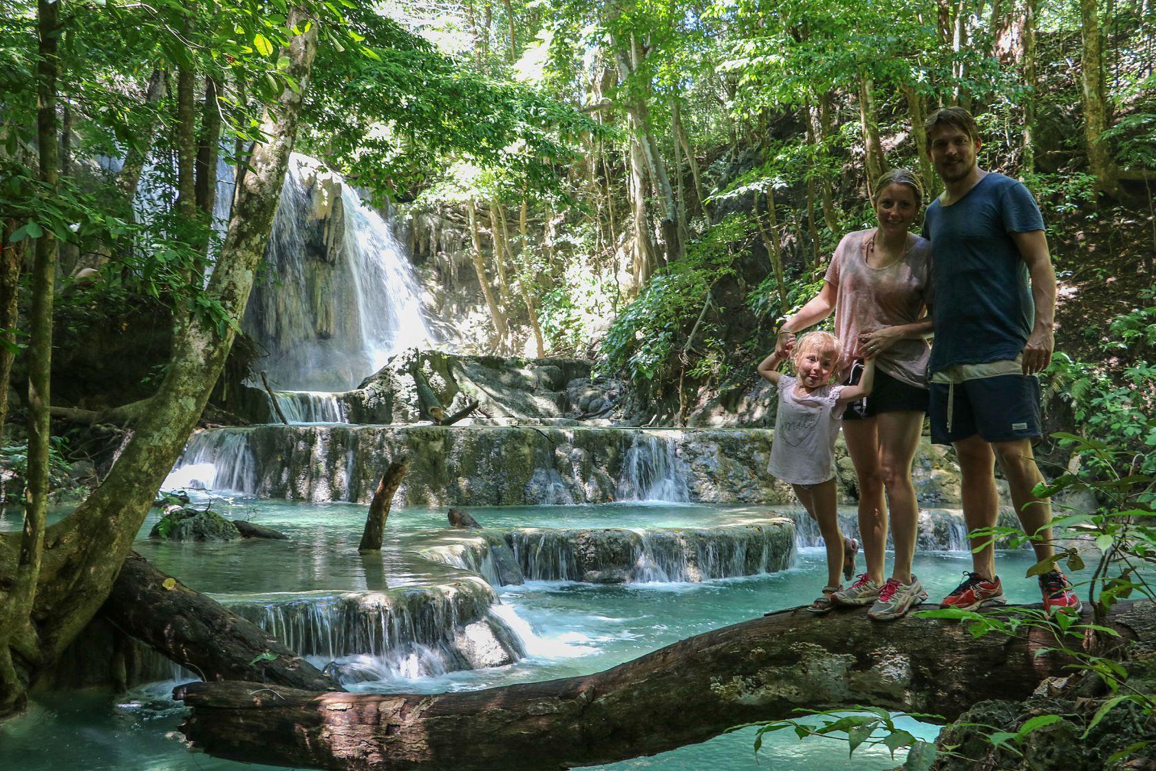 Moyo Waterfall happy family